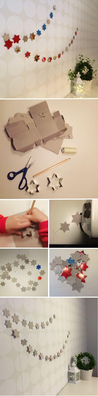 Tähtinauha. lasten | askartelu | joulu | joulukoristeet | käsityöt | koti | kierrätys | DIY ideas | kid crafts | christmas | home | decor | ornaments | recycling | recycled materials | Pikku Kakkonen