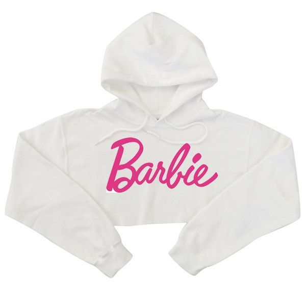 Super cute, luxe buttery soft cropped hooded sweatshirt with Barbie Logo in Pink. Item Type: Hoodies, Sweatshirts Gender: Women Clothing Length: Cropped Sleeve Style: Long Sleeve Pattern Type: Barbie