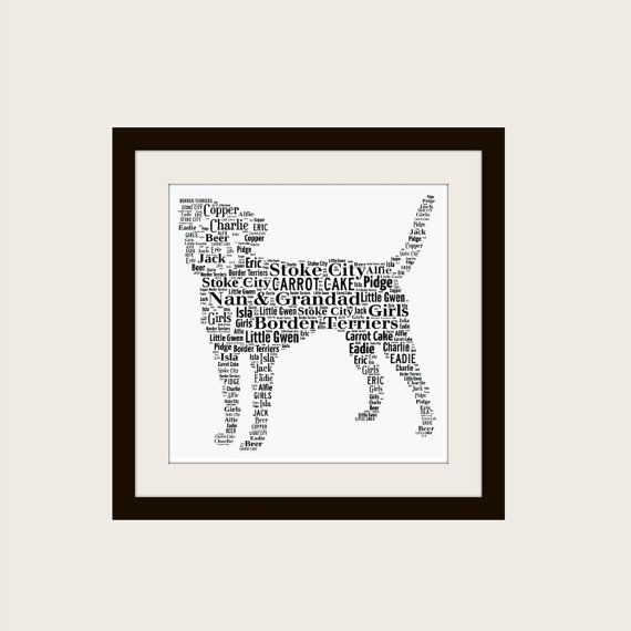 Personalised Border Terrier Dog Unframed Print www.pepperdoodles.co.uk