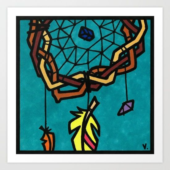 by Vernon Fourie | illo, illustration, pen and ink, popart, pop art, dreamcatcher, dreams, feather, crystals