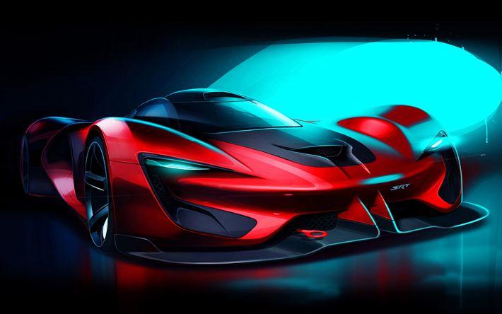 Download wallpapers SRT Tomahawk Vision Gran Turismo, supercars, 2017 cars, art, SRT Tomahawk