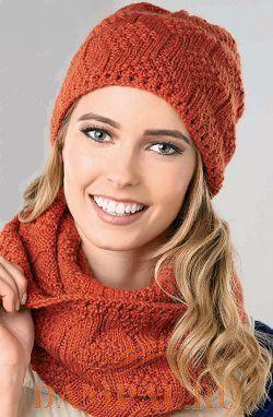 Комплект: шапочка и шарфики (Вязание спицами)