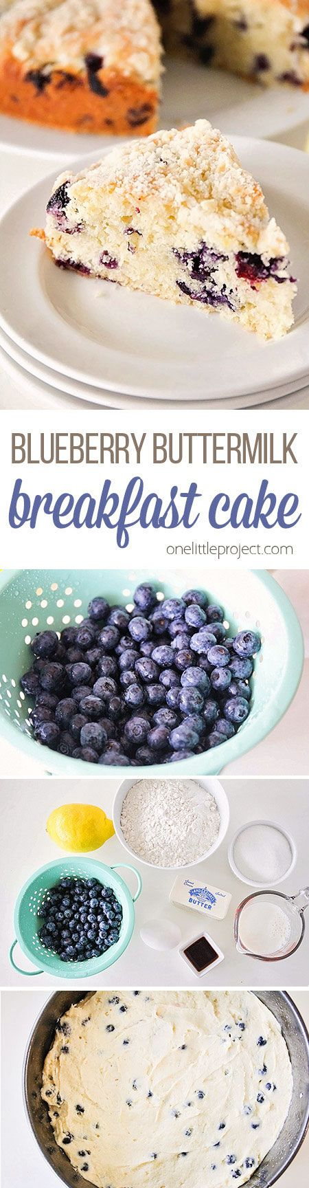 This blueberry buttermilk breakfast cake is DELICIOUS! Loaded with juicy blueberries and topped with a buttery streusel. Perfect for breakfast or anytime! Mmmm...