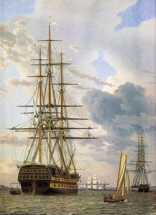 """A Russian Ship Of The Line  """"Asow"""" and a Frigate at anchor in the Roads of Elsinore .....  -Christoffer Wilhelm Eckersberg"""