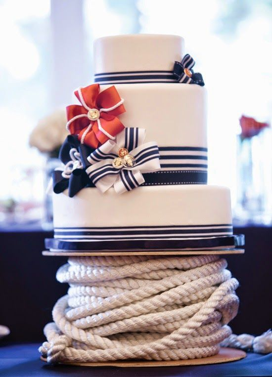 Nautical Wedding Ideas | Wedding Cake. http://simpleweddingstuff.blogspot.com/2014/04/nautical-wedding-ideas.html