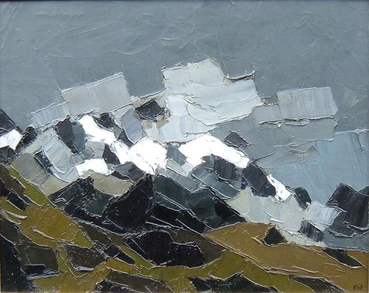 Kyffin Williams' 'Snow and Cloud on Snowdon'.  Wonderful, confident texture.