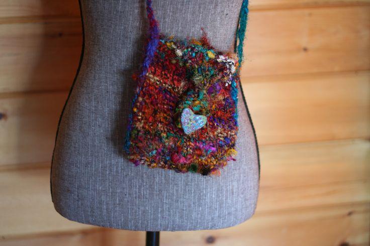 CUT SHORT Recycled Sari Silk Yarn and Wool Purse