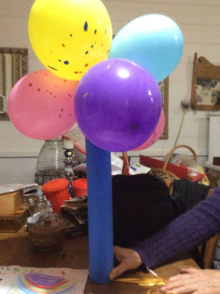 Baloons with Pool Noodle Swimming