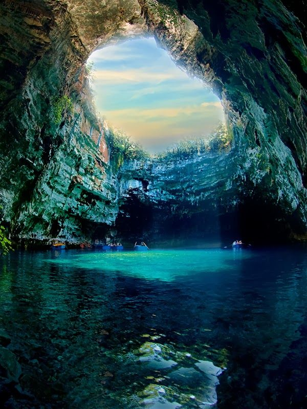 "Amazing View of Melissani Cave, Kefalonia Greece. Follow me ""YEAH"" for many more awesometacular images and the stories behind them."