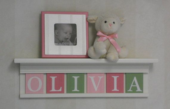 """Pink Green Nursery Wall Art - Children Name Nursery Decor 24"""" Linen (Off White) Shelf Sign 6 Wooden Letters Personalized for OLIVIA"""