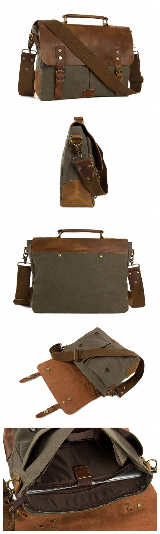 Handmade Canvas Leather Briefcase Messenger Bag Crossbody Shoulder Bag Laptop Bag