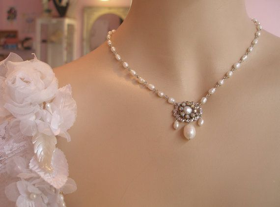 Bridal Pearl Necklace Bridal Jewelry Wedding by mylittlebride, $120.00