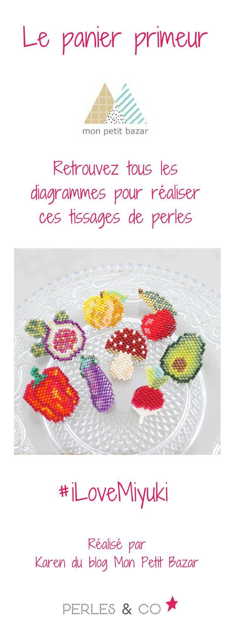 Pour les fans de tissage de perles Miyuki Delicas 11/0, retrouvez les tutoriels pour réaliser le panier primeur de Karen de Mon Petit Bazar : champignon, radis, pêche, avocat, figue, aubergine, poivron, cerise. >> https://www.perlesandco.com/schemas-Tissage_de_perles-sc-47.html