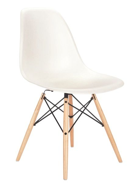 Eames side chair. Works great in small spaces. Throw sheepskin over for texture and comfort.