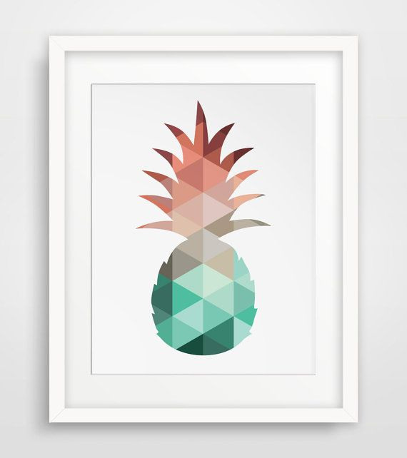 Pineapple Print Mint and Coral Pineapple Art by MelindaWoodDesigns, $5.00