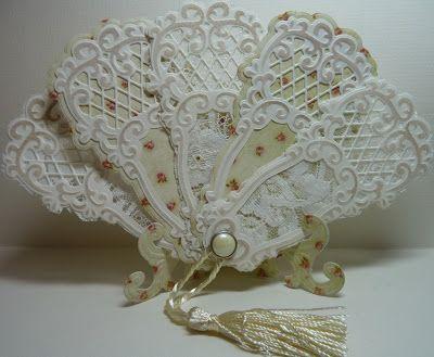 Vintage paper fan - Easel and Fan using Marianne Creatables Design Dies