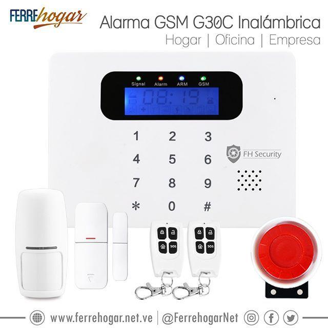 Alarma Digital GSM G30C - Fácil instalación - Alerta a 6 números telefónicos - Armado y desarmado vía telefónica - Micrófono incorporado para monitorear - Activación de sirena de emergencia #Ferrehogar #Alarmas #SistemaDeAlarmas #AlarmaInalambrica #Sensores #Hogar #Oficina