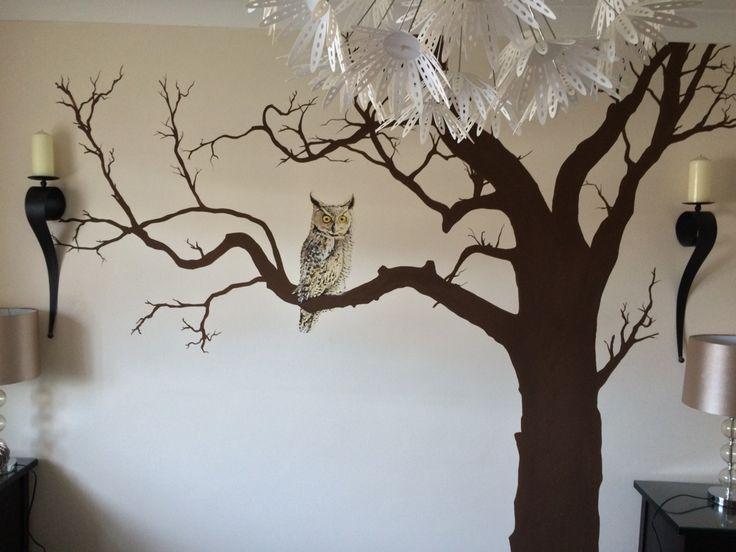 Tree with owl painted mural