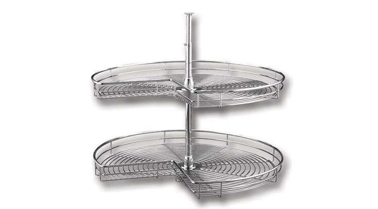 The stylish chrome plated Lazy Susan from Franci Furniture Fittings, with its adjustable centre pole mounting and two tier storage capability assists in the difficult to reach areas in a corner unit.