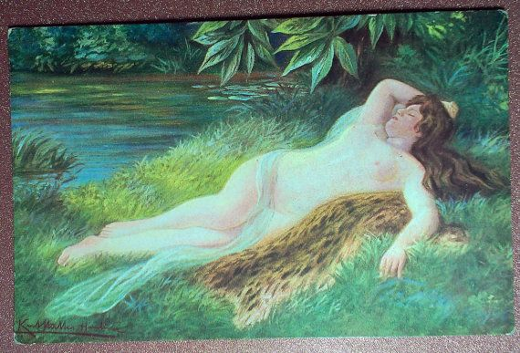 Antique Nu postcard 1900s  Nude woman in by JustSweetHoney on Etsy