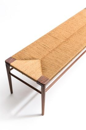 Woven Rush Bench - RLB - Mid-Century / Modern Contemporary Benches - Dering Hall
