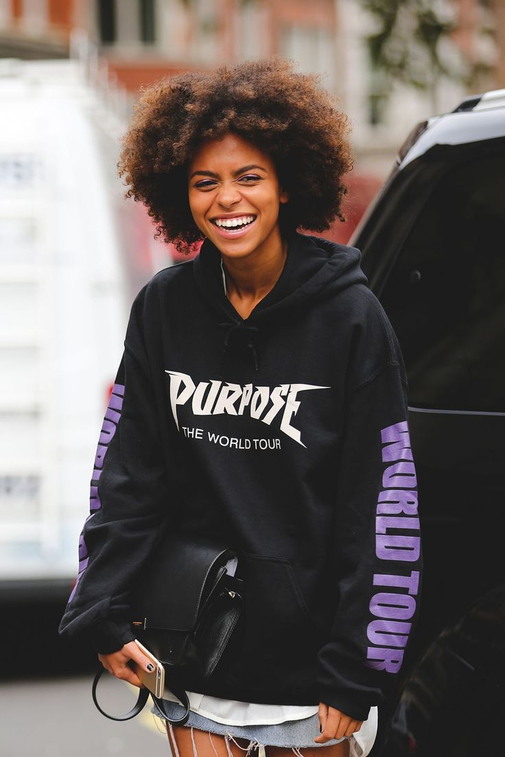 When you're a big-time Belieber.Justin Bieber Purpose World Tour sweatshirt. #refinery29 http://www.refinery29.com/2016/09/123831/lfw-spring-2017-best-street-style-outfits#slide-19