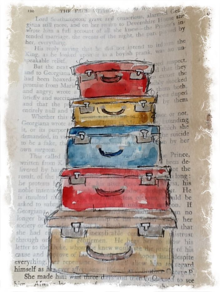 Lillyststudios, suitcases on a gesso'd book page for art journal.