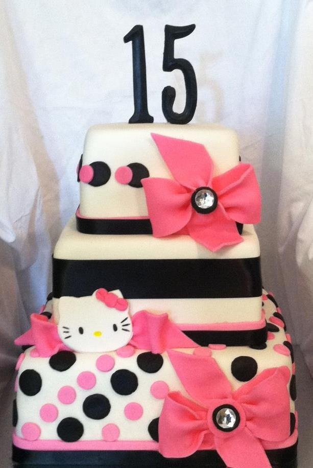 Hot Pink And Black Fondant Hello Kitty Birthday Cake