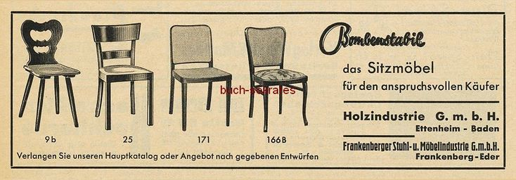 Werbe-Anzeige / Werbung/Reklame Stühle - Bombenstabil, das Sitzmöbel für den anspruchsvollen Käufer - Holzindustrie GmbH, Ettenheim/Baden / Frankenberger Stuhl- u. Möbelindustrie GmbH, Frankenberg-Eder (BG34)