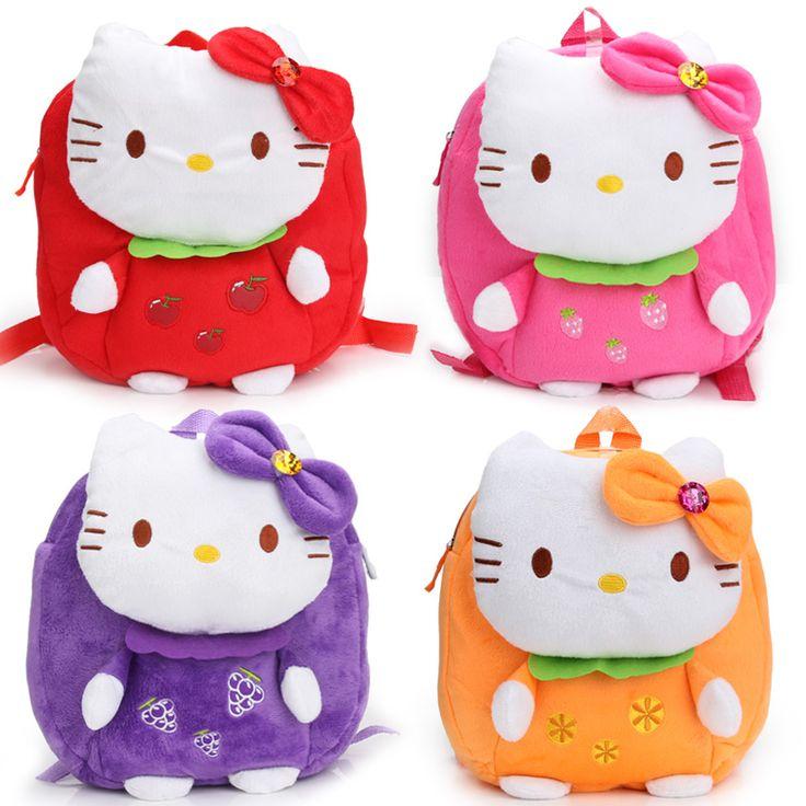Korean plush cartoon children's bags, hellokitty fruit section kindergarten baby backpack