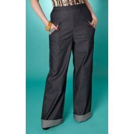 Pantalon Rétro Pin-Up 50's Taille Haute Denim Swing