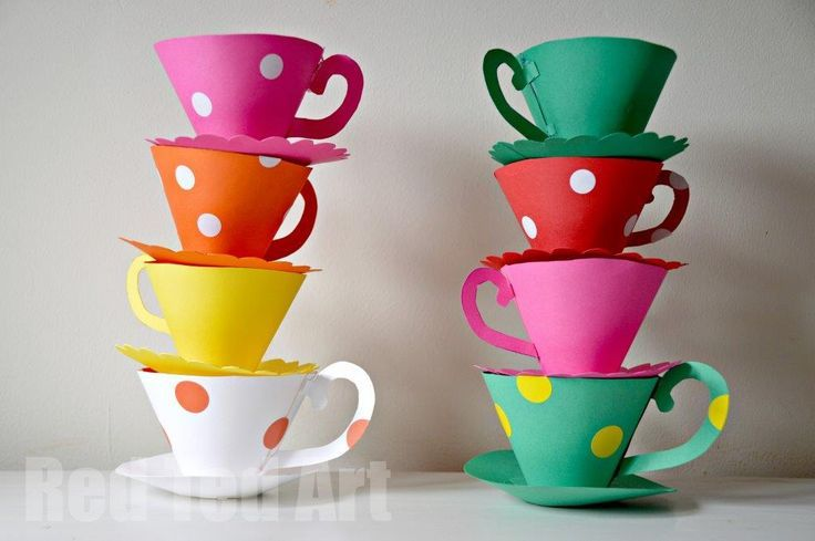 Paper Teacup Printable - adorable paper teacups. These are perfect for an Alice in Wonderland tea party. Mother's day or Weddings. We also have some great paper teacup play ideas for you!