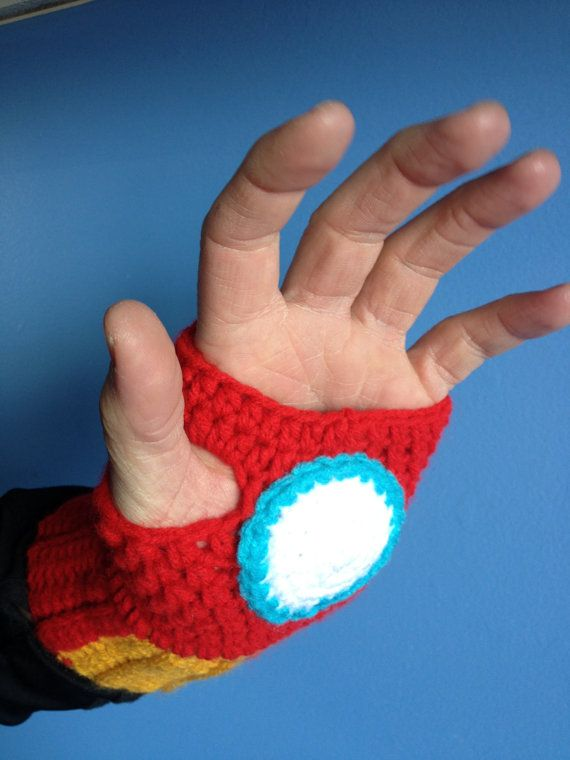 Iron Man Gloves Fingerless Crochet Repulsor by MonAmiCreationz, $28.00