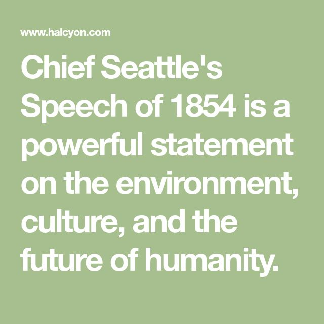 an analysis of the famous speech of chief seattle Chief seattle (more correctly known as seathl) was a susquamish chief who lived on the islands of the puget sound as a young warrier, chief seattle was known for his courage, daring and leadership.