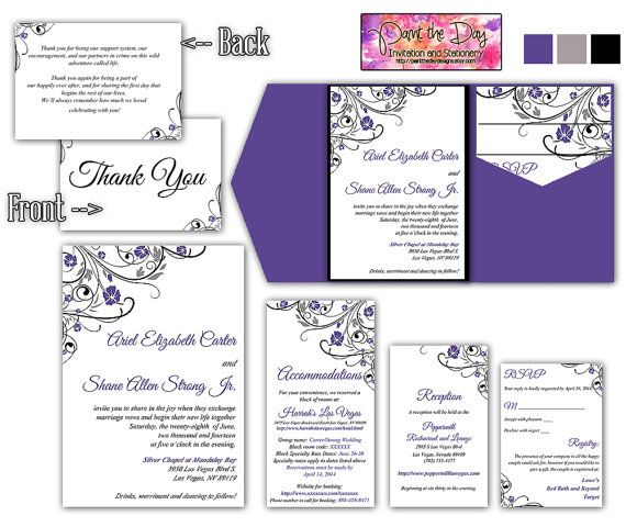 Wedding Pocketfold Invitation Template Diy Kit Finola Black Purple Gray Rsvp Accommodation Reception Thank You