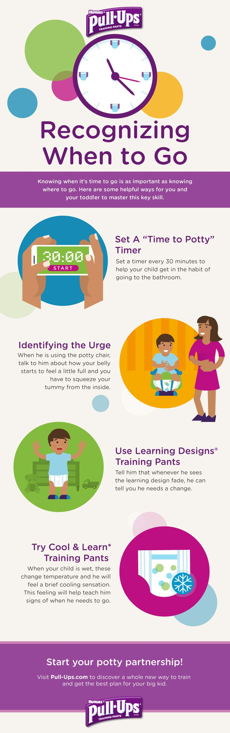 """Pull-Ups knowledge is potty power. """"Recognizing When to Go"""" helps your toddler know when the time is right. Repin and follow these helpful steps to master the skill of knowing when to get going. For other useful potty training tips, check out our other boards."""