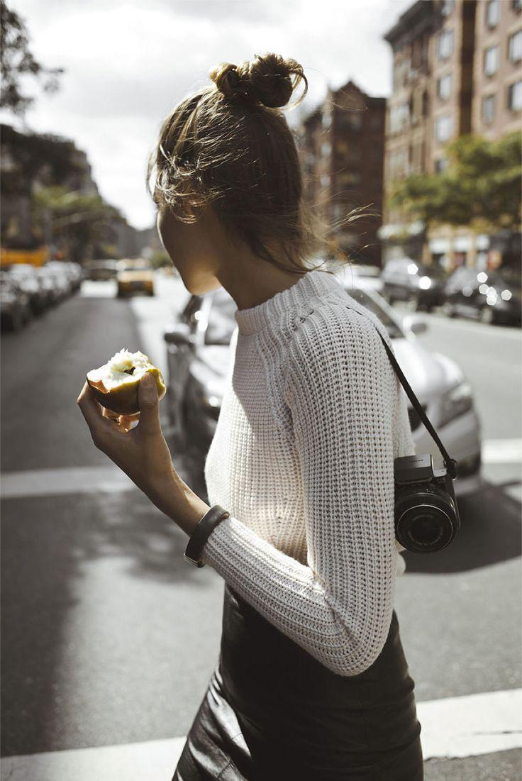 white sweater + black leather skirt