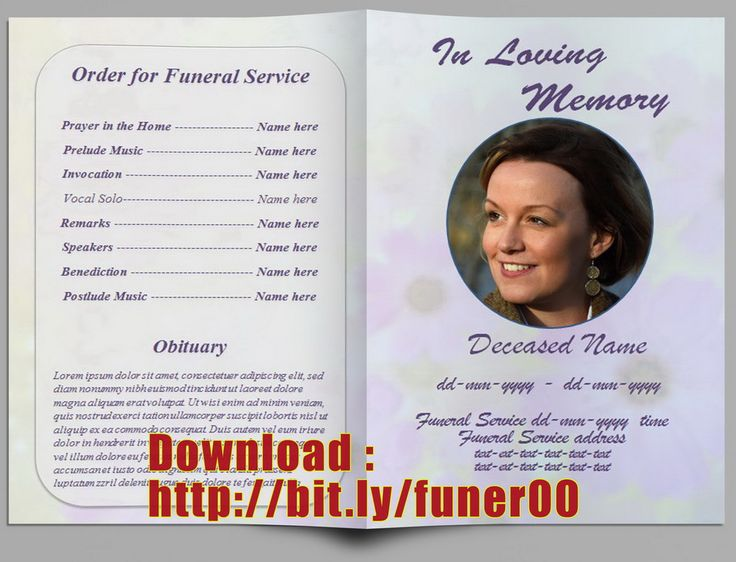The 25 best Memorial service program ideas – Obituary Program Template