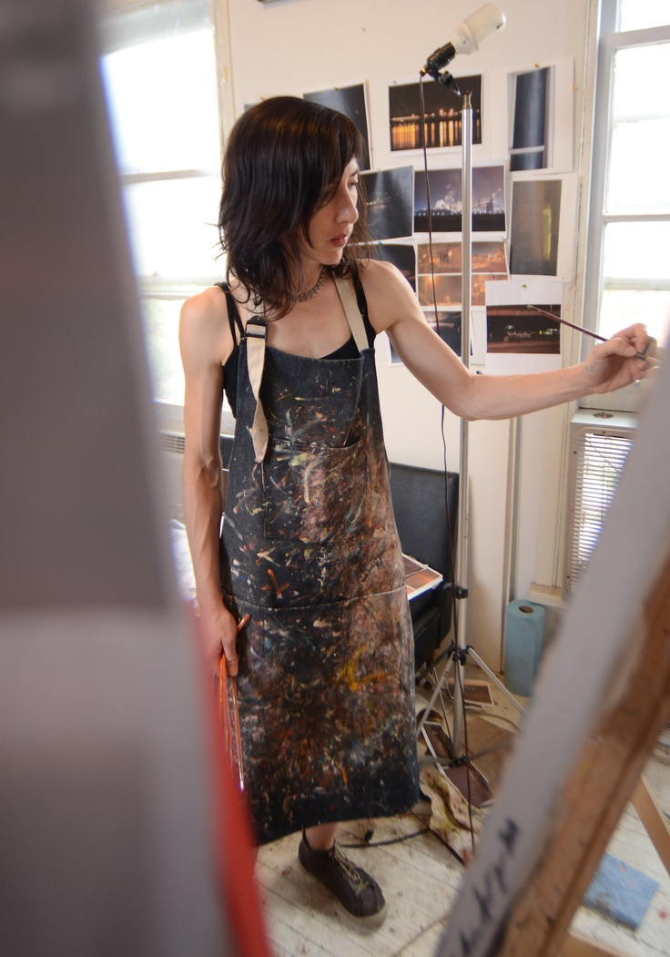 Painter Christina Sealey works in her studio on James Street North. http://www.christinasealey.com. Cathie Coward/The Hamilton Spectator.