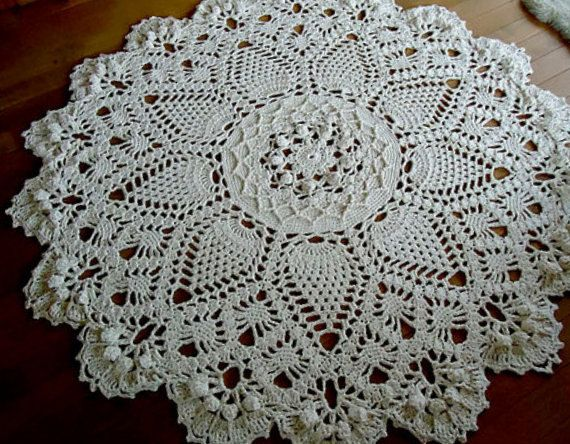 Off white Giant 3D Crochet Doily Rug, floor rug, large area round rug, Rustic…