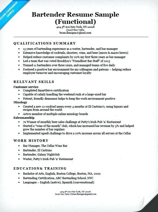 Functional Resume Template Bartender Resume Sample Functional Resume