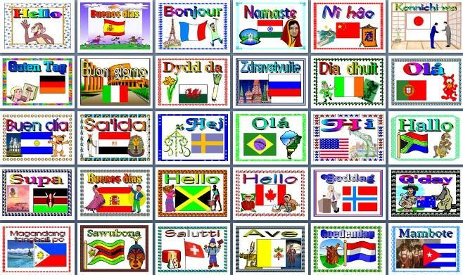 Printable Posters Teaching Resource - How to say hello in 30 different languages, create a colourful multicultural display for your classroom: