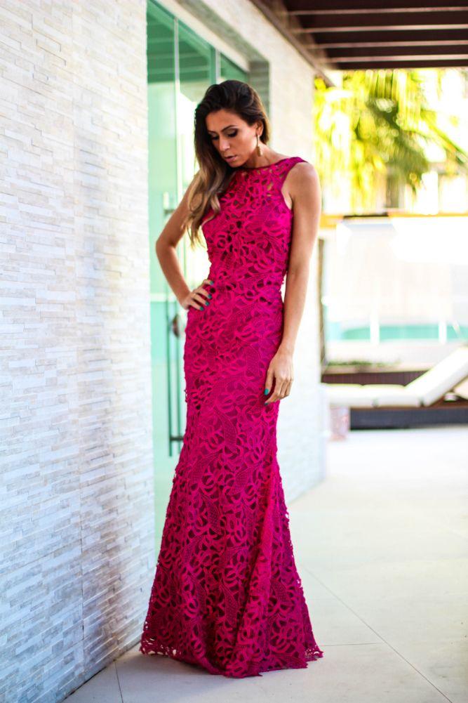 Bridesmaids / Long Pink Flower Dress