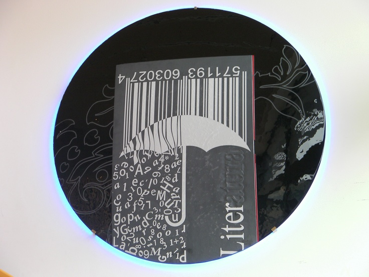 """""""LITERATURE"""" Lighting Circle - Library of Polytechnic University of Alcoy - Signed by the Glass Art creative Josep SanJuan - Tech.: Glass Fusing. It includes a Retro-LED lighting system. Diameter: 118 cm, Weight: 30 kgs."""