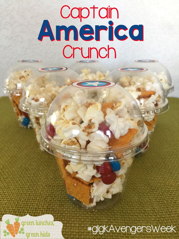 Captain America Crunch! Fun, Avengers Movie night snack by Green Lunches, Green Kids