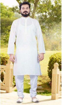 Cotton White Color Casual Wear Men Readymade Kurta Pajama | FH575585179