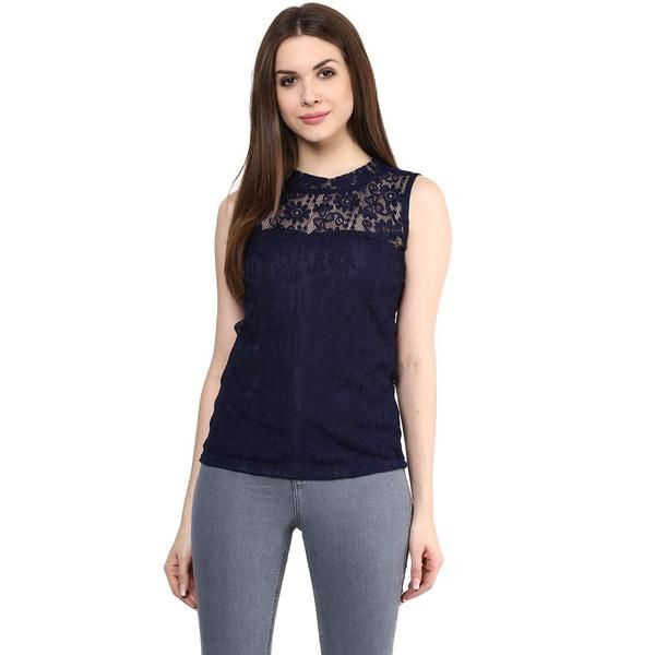 a8a3a6d0cc1 Partywear Tops Blue Color Stylish Net Tops With Floral Design Ladyindia76