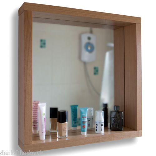 Schön L 550mm Quadratisch Badezimmer Box Wand Spiegel Eichen Effekt Rahmen Mit  Regal | EBay