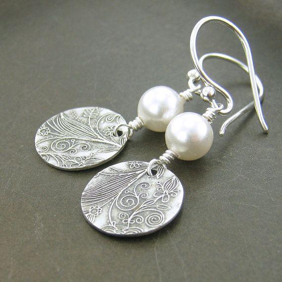Boucles d'oreilles perles, hiver détecte, cadeau pour elle, juin Birthstone, bijoux faits main en argent Sterling Tracey n36
