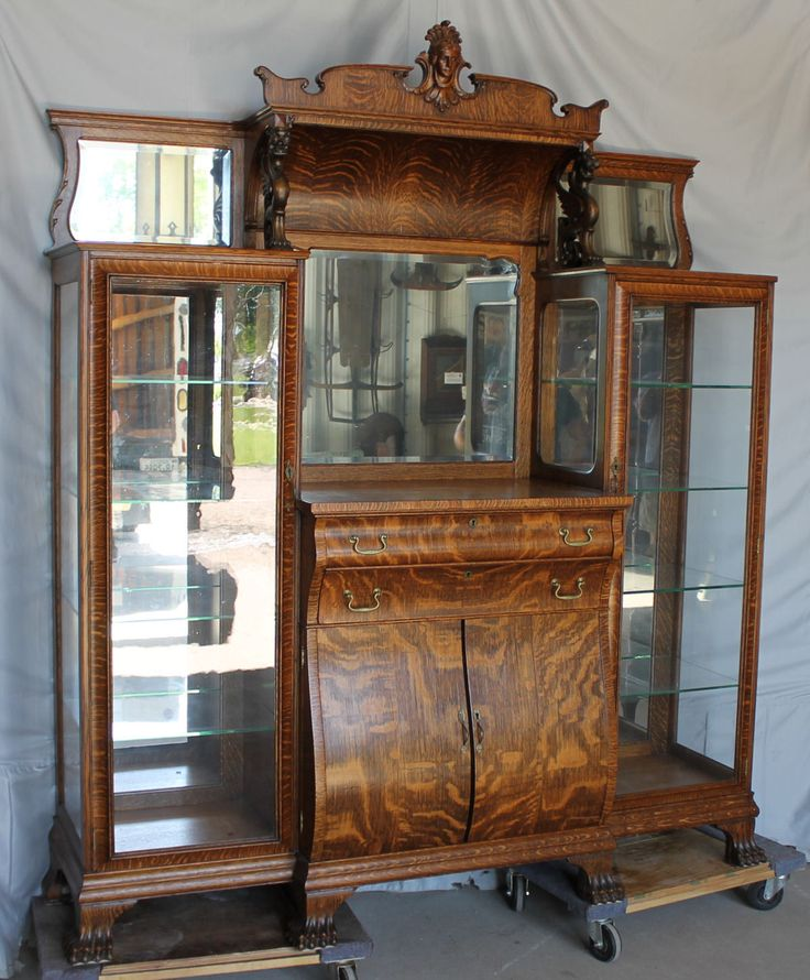 Antique Oak Double China Curio And Buffet Combination
